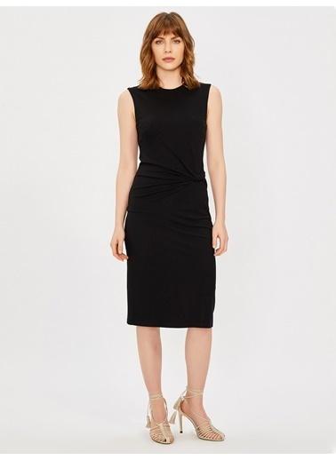 Vekem-Limited Edition Sıfır Yaka Kolsuz Drape Detaylı Elbise Siyah